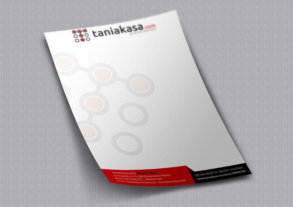 Taniakasa.com - projekt papieru firmowego a4